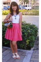 white tank top - green Prada bag - hot pink skirt