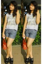 ruby red hand Chanel bag - periwinkle shorts - violet cropped stripe Topshop top