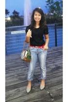 periwinkle denim Guess jeans - dark green Prada bag - periwinkle Le Saunda heels