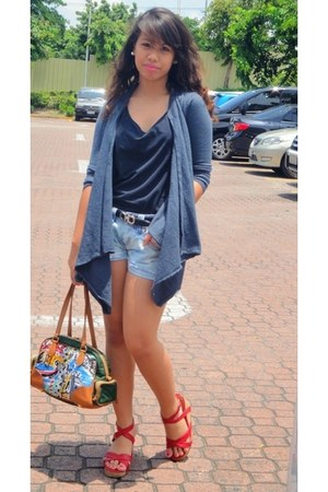 dark green handbag Prada bag - periwinkle diy denim EDC shorts - navy cardigan -