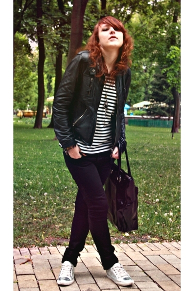 black Bershka jacket - silver D&G shoes - black Topshop jeans