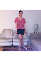 hot pink Comptoir des Cotonniers shirt - black BCBG skirt - Osklen flats