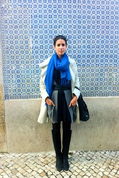 blue Lanidor scarf - ivory Comptoir des Cotonniers coat