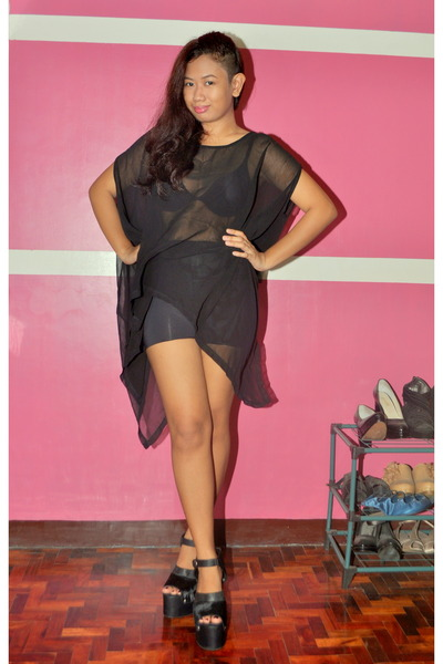 black wedges - black sheer top