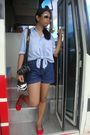 Shirt-shorts-bag-red-shoes