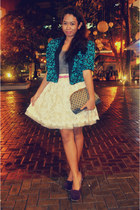 navy blazer - purple shoes - cream skirt