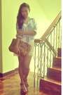 Brown-leopard-print-bag-cream-lace-shorts-blue-chambray-top-brown-wedges