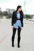 Sisley blazer - H&M shirt - Bershka leggings - Zara boots