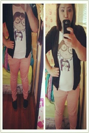 pink Forever21 pants - black TOMS shoes - cotton Target blazer
