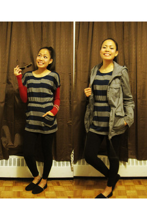 garage jacket - Aeropostale sweater - Forever 21 top - Skechers Bobs flats