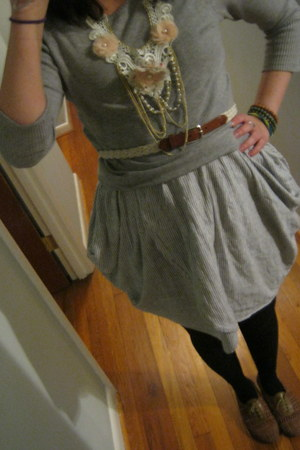 brown Urban Outfitters shoes - striped Naf Naf dress - gray sweater - flower Cla