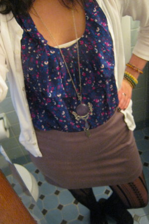 lace tights joyce leslie tights - H&M skirt - Forever 21 blouse - Old Navy cardi