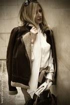 dark brown aviator jacket Massimo Dutti jacket - dark brown spy bag Fendi bag -