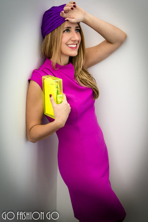 hot pink Pedro del Hierro dress - deep purple Blumarine hat - yellow Zara bag