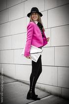 hot pink Diane Von Furstenberg blazer - black Zara leggings