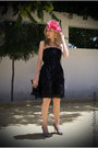 Beige-zara-shoes-black-zara-dress-hot-pink-moa-hat-black-tosca-blu-bag