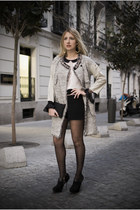 off white Zara shirt - silver Twin-Set coat - dark gray Bimba&Lola bag