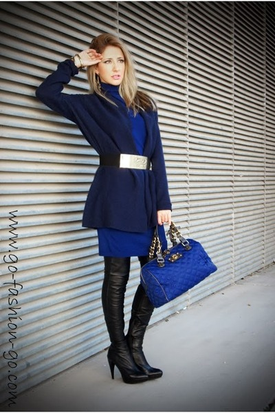 blue Versace Jeans dress - black Zara boots