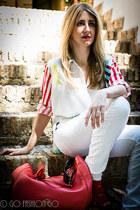 red asos shirt - red Carolina Herrera bag - white Zara pants - red Zara sandals