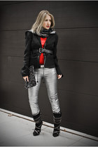 black Dsquared2 jacket - black Balmain boots - gray Adolfo Dominguez scarf