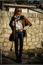 brown Uterque cape - navy versace jeans - white Uterque shirt