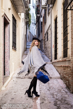 black Zara hat - blue Marc by Marc Jacobs bag - heather gray Stradivarius cape