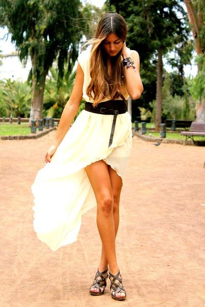 light yellow inlovewithfashion dress - bronze natura bag
