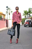 chicnova blouse - Bershka boots - rayban sunglasses
