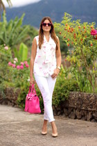 Sheinside blouse - pull&bear jeans - Chanel sunglasses - pull&bear heels