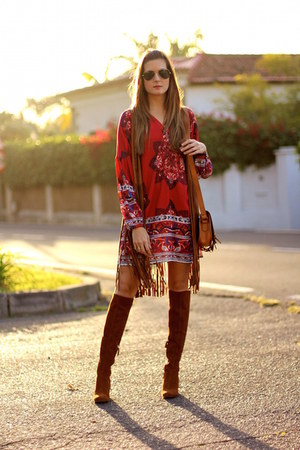 Zara boots - Sheinside dress - Stradivarius vest