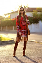 Stradivarius vest - Zara boots - Sheinside dress