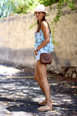 Zara shorts - Guess sunglasses - Mustang flats - Sheinside top