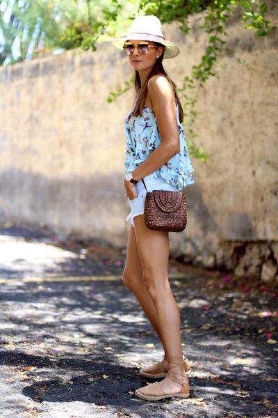 Zara shorts - Guess sunglasses - Mustang flats - Sheinside top