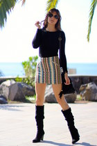 H&M skirt - Zara boots - Bershka top