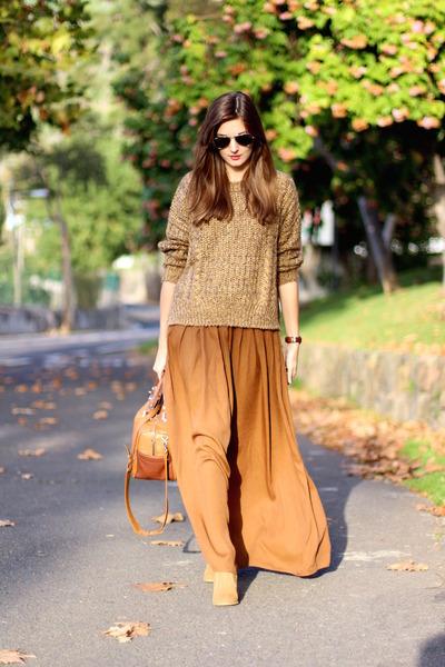 Zara bag - Bershka boots - Yoins sweater - Zara skirt