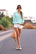 Mango shorts - tfnc londo blouse - Mango bracelet - natura wedges