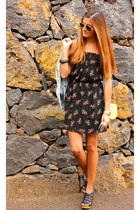 black Guess dress - yellow Zara bag - black Zara sandals
