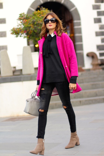 PERSUNMALL coat - Zara boots - H&M sweater - Chanel sunglasses
