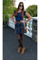 brown Bershka boots - brown Zara bag - navy Zara t-shirt
