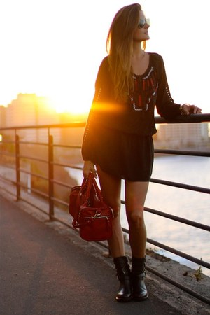 Zara boots - c&a dress - Zara bag - ray-ban sunglasses