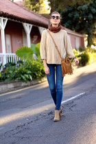 romwe sweater - istome boots - Zara jeans - bridas bag