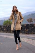 Zara jeans - shein coat - Mango scarf - Zara heels