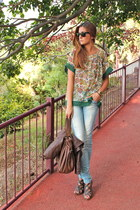 green natura blouse - dark brown BLANCO shoes - dark brown Zara bag