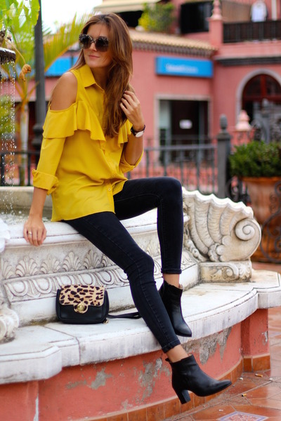 Sheinside blouse - itshoes boots - Dolce & Gabbana sunglasses - Zara panties