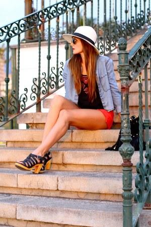 c&a shirt - Zara shorts - c&a top - Zara heels