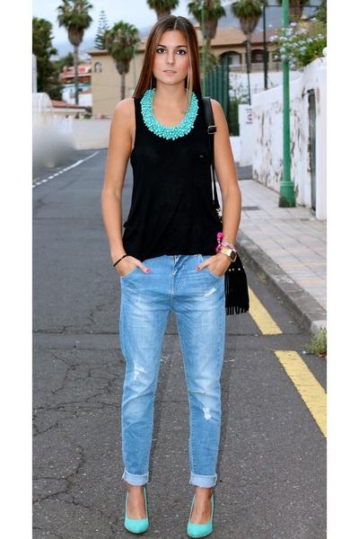 sky blue Zara jeans - turquoise blue Zara heels - black Easywear blouse