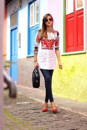 H&M jeans - Sheinside blouse - Bershka heels