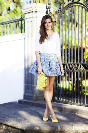 romwe skirt - Sheinside blouse - Rebeca Sanver heels