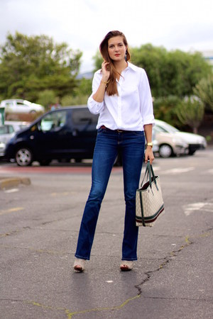 Stradivarius jeans - suchn blouse - natura clogs - Mango earrings
