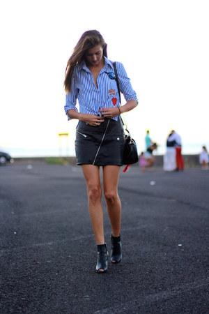 shein shirt - Mango skirt - Mango heels